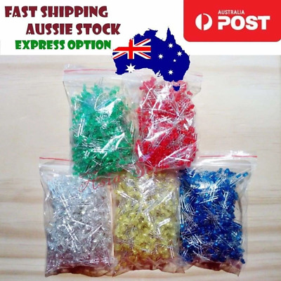 1000pcs 200each 3mm LEDs Blue White Green Yellow Red LED Light Emitting Diodes