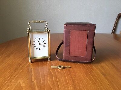 Antique French Carriage Clock With Leather Traveling Case