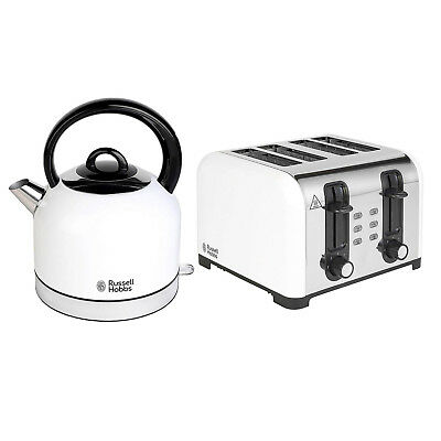 Russell Hobbs 1.5L Jug Kettle 3000W and 4 Slice Toaster 1500W Arctic White Set
