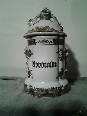 """LARGE FRENCH PORCELAIN APOTHECARY JAR """"HODOCAINE"""" 11 inches tall"""