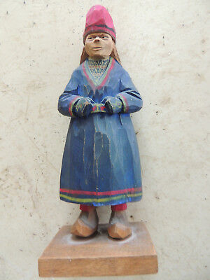 woman wood carving, Larsson, Sweden,Norway, hand carved,signed,caricature carvin