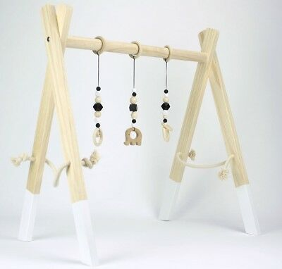 Wooden Baby Gym Play handmade activity baby shower gift FRAME ONLY white natural
