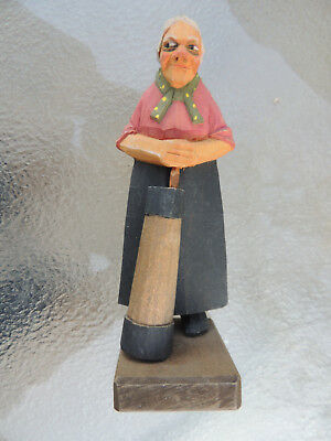 woman wood carving,signed carving,hand carved woman,caricature carving