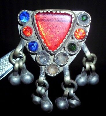SUPERB MASSIVE MEDIEVAL SILVER  RING WITH STONES / GLASS - circa 20g WEARABLE!
