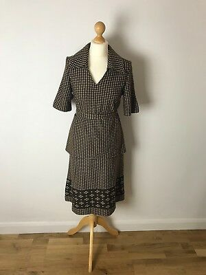 Unique Vintage 1960's Chequered Pattern Two Piece Women's Day Suit Size 10-12