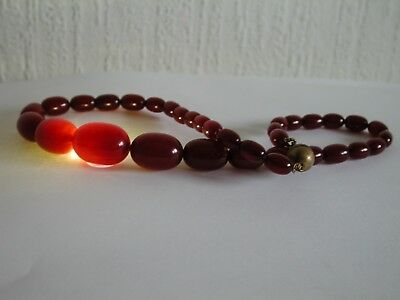 Antique Amber Bakelite Cherry Veined Faturan Art Deco Necklace Olive Marbled