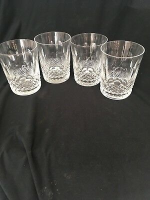 Set of 4 WATERFORD CRYSTAL COLLEEN DOUBLE OLD FASHIONED TUMBLER GLASSES 4 3/8