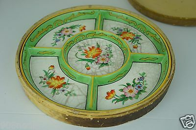 Antique Old Japanese Divided Hand Painted Plate Green W/ Yellow Flowers In Box