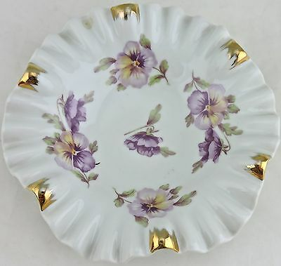 ANTIQUE DISH bowl gold,pansy flowers,ruffled edges Bavaria Germany