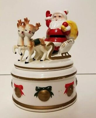 Vintage Lefton Covered Candy Dish With Santa Sleigh & 2 Reindeer