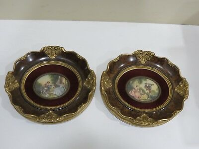 A Pair of Antique Vintage Miniature Oil Paintings on Porcelain w/ Wooden Frame
