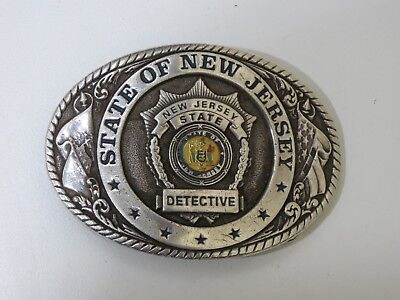 Vintage State of New Jersey Detective nickel silver Buckle, Creative Casting INC