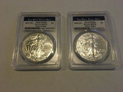 2017 and 2018 American Silver Eagle PCGS MS-70 First Strike West Point Labels
