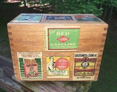 vintage MATCHBOOK COVER WOOD  BOX PRIMITIVE DOVETAIL