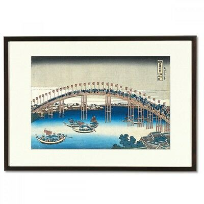 Hokusai Woodblock Print - Tenman Bridge -  A famous Japanese bridge view