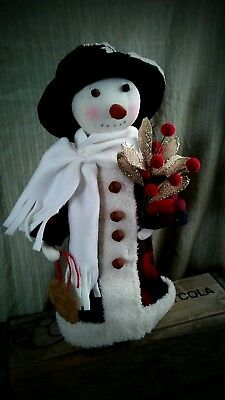 PriMitiVE FolK ArT OOAK SNOwMAn  Doll CHRistMaS MaKE Do ViNTAge  HoLiDAY