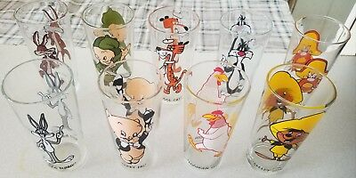 Lot of 9 1973 Pepsi Looney Tunes Glasses