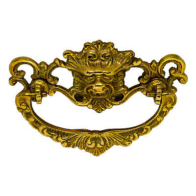 Dresser Drawer Pull Lion Face Polished Brass Old Style