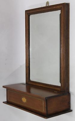 Edwardian Oak Mahogany Inlaid Hall Wall Bevelled Mirror w/Glove Key Box Storage