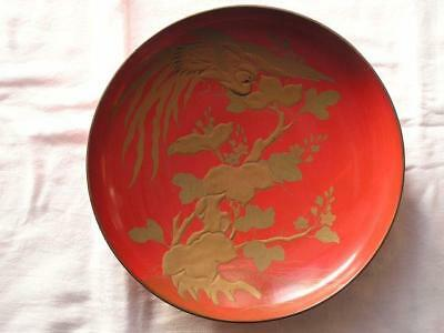 Huge antique Japanese lacquer sake cup with bird of paradise ~1888  #4074F
