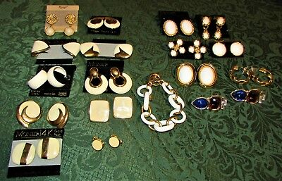 Lot of 17 Vintage New Monet Earrings and One Bracelet all signed