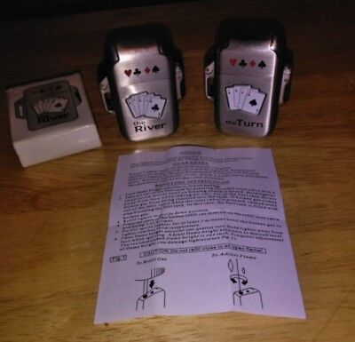 """2ea Casino Poker Playing Cards Butane Lighter's """"The River """" & The Turn"""