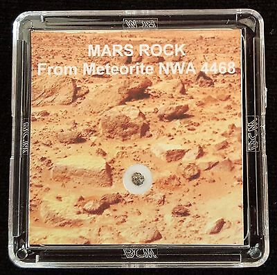 DELUXE EDITION- AUTHENTICATED MARTIAN METEORITE- 12mg Mars Rock Display+Easel  l