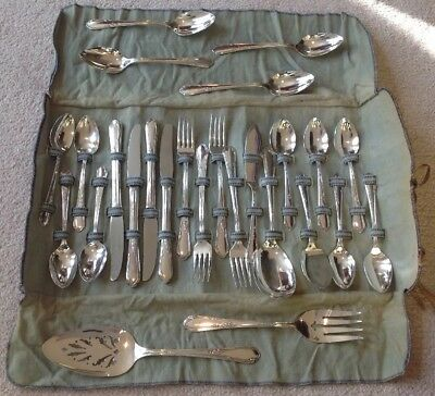 Vintage 26 Pc Wm Rogers A1 Plus Oneida Silverplate Meadowbrook Heather Flatware