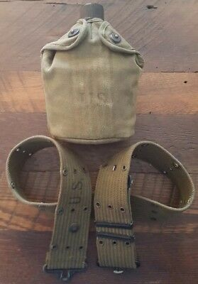 WW2 US Army M1910 Canteen Set 1945 Cover 1945 Cup & 1945 Catneen w/belt