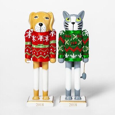 "Set of 2 Nutcrackers Dog and Cat Holiday Sweater 8"" Wooden 2018"