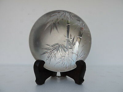 RARE ANTIQUE SIGNED JAPANESE SOLID STERLING SILVER BAMBOO SAKE CUP 60 gr 2.1 OZ