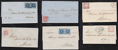 Peru 1860-64 collection of 6 classic covers