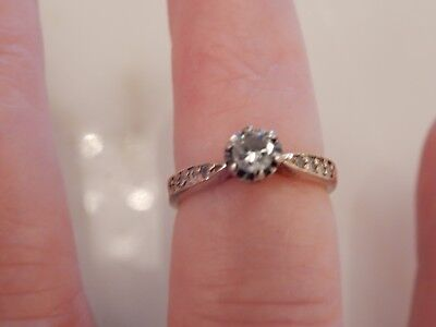 A Stunning Art Deco 9 Ct Gold Solitaire Diamond  Ring