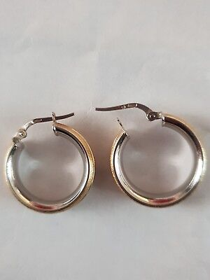 18ct White And Yellow Multi-tone Gold Earrings Hallmarked .750