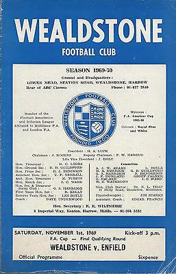Wealdstone v Enfield 1st Nov 1969 FA Cup 1st Qualifying Round programme