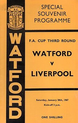 Watford v Liverpool 28th January 1967 FA Cup 3rd Rnd Programme @ Vicarage Rd