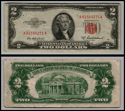 1953A $2 DOLLAR BILL  US NOTE   RED SEAL lt=E941