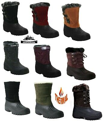 Womens Groundwork Warm Fur Lining Winter Snow Mucker Thermal Boot Ladies Wellies
