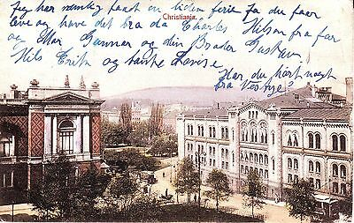 Norway Norge Oslo Christiania - Main Square & Tramway 1909 postcard