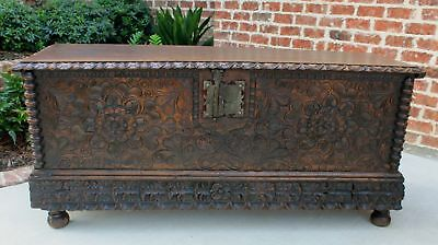 Antique French GOTHIC Oak Blanket Box Chest Coffer Trunk Coffee Table c. 1750s
