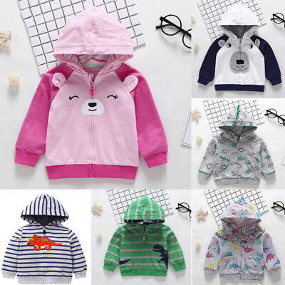 Toddler Baby Boys Autumn Long Sleeve Tops Hoodie Zip Warm Outfits Coat Shirts