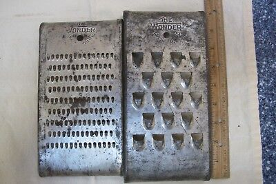 """2 Antique or Vintage American Graters """"The Wonder Pat Pend"""" Veg Cheese etc."""