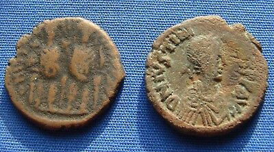 *nice Lot Of (2) Byzantine Empire Coins 527-565 Ad - Estate Fresh*