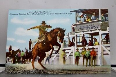 Wyoming WY Cheyenne Frontier Days Ride Em Cowboy Postcard Old Vintage Card View