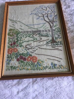 Gorgeous Vintage Embroidered Picture