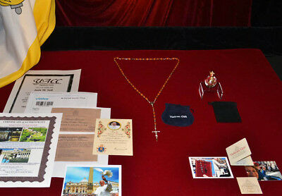 Rare POPE FRANCIS Blessed ROSARY with Vatican COA, Holy Vatican WATER, Photos