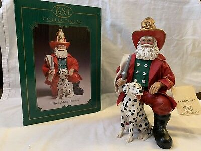 "Christmas ""Firefighting Friends Ornament"" Santa Claus holding a Dalmatian by KSA"