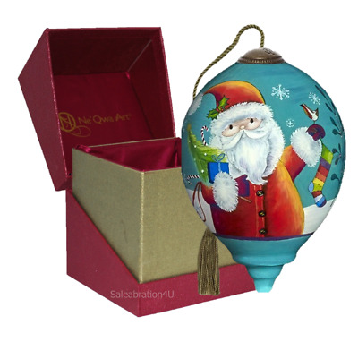 """Ne'Qwa Art Hand Painted Glass 3-In. High """"Merry And Bright Santa"""" Ornament"""
