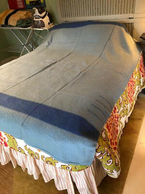 Vtg Blue 4 Point Wool Blanket England 67 X 90 Euc