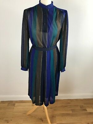 Vintage 1970's Blue and Green Pinstripe 2 piece Skirt and Blouse Suit Size 10-12
